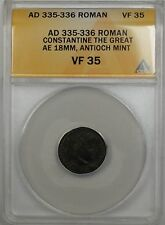 335-336 AD Roman Constantine the Great Antioch Mint Ancient Coin ANACS VF 35