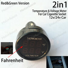 Temperature Volt Combo meter Car Accessory Cigarette lighter DC 12v 24v Battery