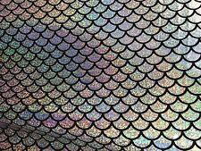 """Silver Mermaid Scale 4 Way Stretch Hologram Spandex Fabric -BTY- 60"""""""