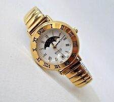 Womens BENRUS Moon Phase and Date Quartz Watch-Goldtone-NEW BATTERY-Very Clean