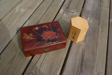 2 Vintage Hand Painted Oriental Boxes, Old Asian Box, Wood Trinket Box Bamboo