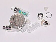 1 Tiniest short mini tube Glass bottle vials rice tiny charm little pendant cap