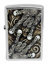 Zippo Windproof Lighter With Scroll and Skulls, 28869, New In Box