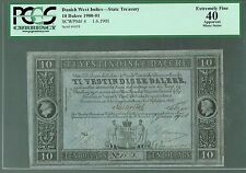 Danish West Indies Lot P-4 1849 1900-1901 10 Dalere XF-EF PCGS-40 State Treasury