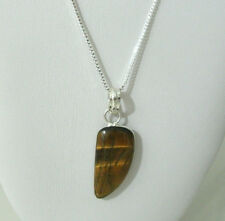 Silver Necklace Box Chain Womens Girls Simulated Tiger Eye Pendant 22in