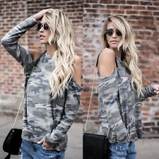 Women Off Shoulder Camouflage Long Sleeve Shirt Blouse Casual Loose Tops T-Shirt