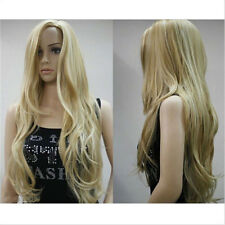 HOT!!!Sexy Women Ladies Long wavy curly Blonde Natural Hair full wigs +Wig Cap