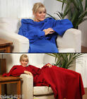 FLEECE BLANKET WITH SLEEVES*SNUGGLE WRAP*DRESSING GOWN*SNUGGIE*COSY*COZY*BLUE