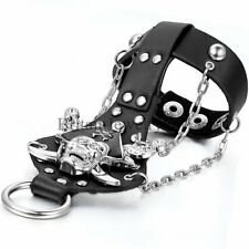 Men's Pirate Skull Alloy Leather Bracelet Wristband with Ring Jewelery Set Black