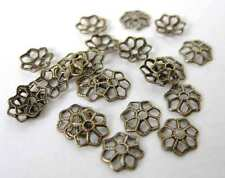 Antiqued Brass Tiny Flower Filigree Bead Cap Brass Ox Vintage Style 7mm