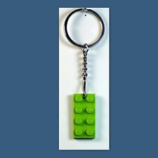 10 Lot Key Chain w/ Lego 2x4 Lime brick Plate Gift, Party Favor, Game Prize