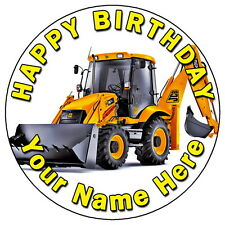"JCB TRACTOR FUN PARTY - 7.5"" PERSONALISED ROUND EDIBLE ICING CAKE TOPPER"