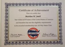 All Fifty Club Certificate  - FREE SHIP - AWESOME GIFT!