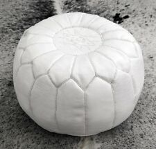 MOROCCAN WHITE HAND STITCHED LEATHER POUFFE