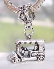 Golf Cart Golfer Car Sports Vehicle 3D Dangle Bead for European Charm Bracelets