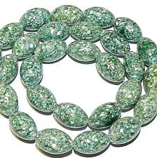 MP641f Teal Green Shell & Mother of Pearl (ASBL) 14x9mm Barrel Gemstone Bead 15""