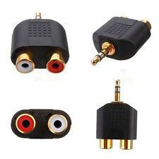 1pc Gold Plated stereo Audio male Plug to 2 RCA female jack Y 3.5mm Adapter