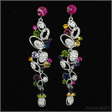 """3.5"""" Fashion Floral long Dangle Earrings Costume Jewelry Crystal Multicolor Lady"""