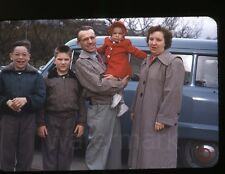 1950s red border Kodachrome photo slide family by Station Wagon car automobile