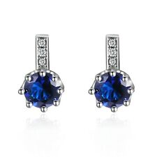 Jewellry Womens Blue Sapphire Round Cut Gold Filled Engagement Stud Earrings