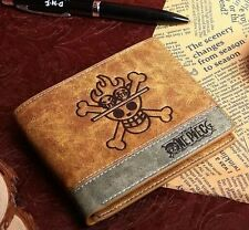 2015 One Piece Cosplay Zoro Fire Skull Leather Anime Wallet Purse New