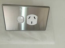 10 x SLIM Single Power Point Electric Stainless Steel GPO