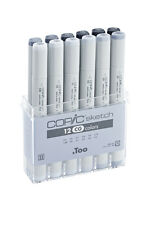 COPIC SKETCH PENS - 12 COOL GREY SET - GRAPHIC ART MARKERS