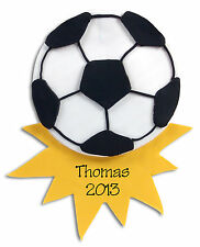 SOCCER BALL HANDMADE POLYMER CLAY Personalized CHRISTMAS Ornament  Deb & Co