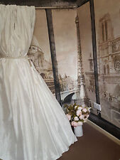 "NEW! Decadent Huge 100% Pure Silk Ivory Pair 93""D 50""W Cotton Lined Bay Curtains"