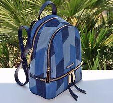 NWT  Michael Kors Denim Rhea Small Backpack in Multi Blue
