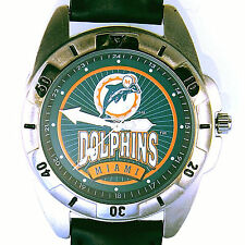 Miami Dolphins, NFL, Fossil New Unworn Man's Rare Vintage 1995 Leather Watch $79