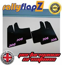Rally style Mudflaps PEUGEOT 206 Mud Flaps (3mm PVC) Qty4 Black Logo Baby Pink