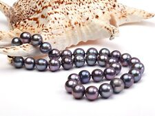 10-11mm Genuine Natural Black Akoya Freshwater Pearl Necklace 18'' AAA+
