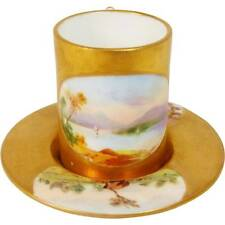 ANTIQUE COALPORT PORCELAIN MINIATURE CUP AND SAUCER SCENES & GILDING A3779 (b)