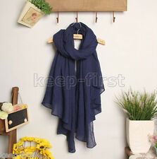 NEW Fashion Woman's dark blue Voile cotton  Shawl/ Long Scarf/ Wrap Shawl Gift