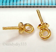 2x REAL 18K GOLD plated STERLING SILVER PENDANT PEARL BAIL 3mm CUP PIN G165