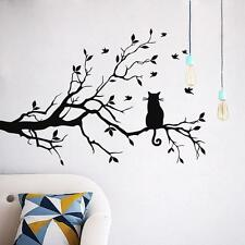 Kids Room Decor Cat On Long Tree Branch Wall Sticker Animals Cats Art Decal Hot