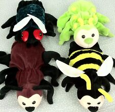 Caltoy Plush Hand Puppets Glove Bumble Bee Fly Green Caterpillar Lot of 4 Bugs