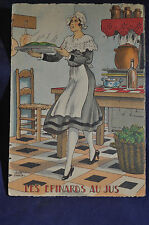 1948 *BEAUTY/SIGNED* Les Epinards au Ju 'Juice of the Spinach' Postcard