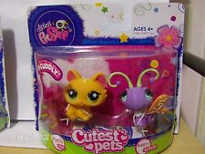 Littlest Pet Shop Cutest Pets Fluffy Cat 1876 & Butterfly 1877 Retired New