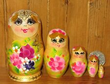 Russian Babushka nesting doll 5 small Yellow Gold Matryoshka pink purple flowers