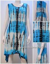 PLUS SIZE FUNKY TIE DYE BOHO CHIC NOMAD HIPPIE TUNIC DRESS TURQUOISE 16 18 20