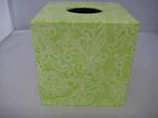 Lime Lace Tissue Box Cover wooden handmade decoupaged