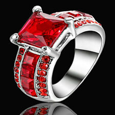 Size 7 White Gold Plated Red Ruby Ring Wedding Cluster Cocktail Anniversary Gift