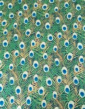 Peacock feather Pima cotton lawn print fabric