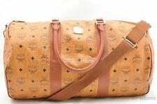 Authentic MCM Leather Vintage Boston Brown Boston Bag  25871