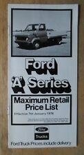 FORD A SERIES orig 1978 UK Mkt Retail Price List Brochure