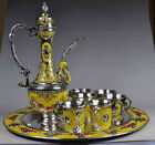 Collectible Decorated Old miao Silver Carved Flower Tea Pot Cup Plate Set