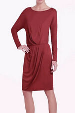 "$198 BCBG RIO RED ""ODESSA"" RUCHED LONG SLEEVE JERSEY DRESS NWT M"