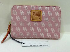 DOONEY & BOURKE SIGNATURE LOGO JACQUARD PINK/RED MEDIUM ZIP AROUND WALLET $145